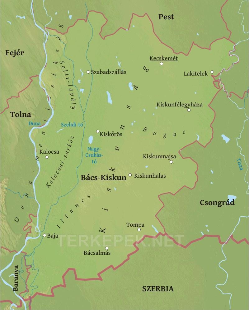 bács megye térkép Bács Kiskun megye domborzati térképe