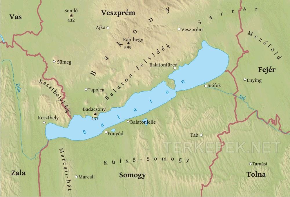 magyarország térkép balatonfüred Balaton környékének domborzati térképe magyarország térkép balatonfüred