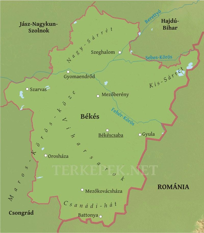 békés megye térkép Békés megye domborzati térképe
