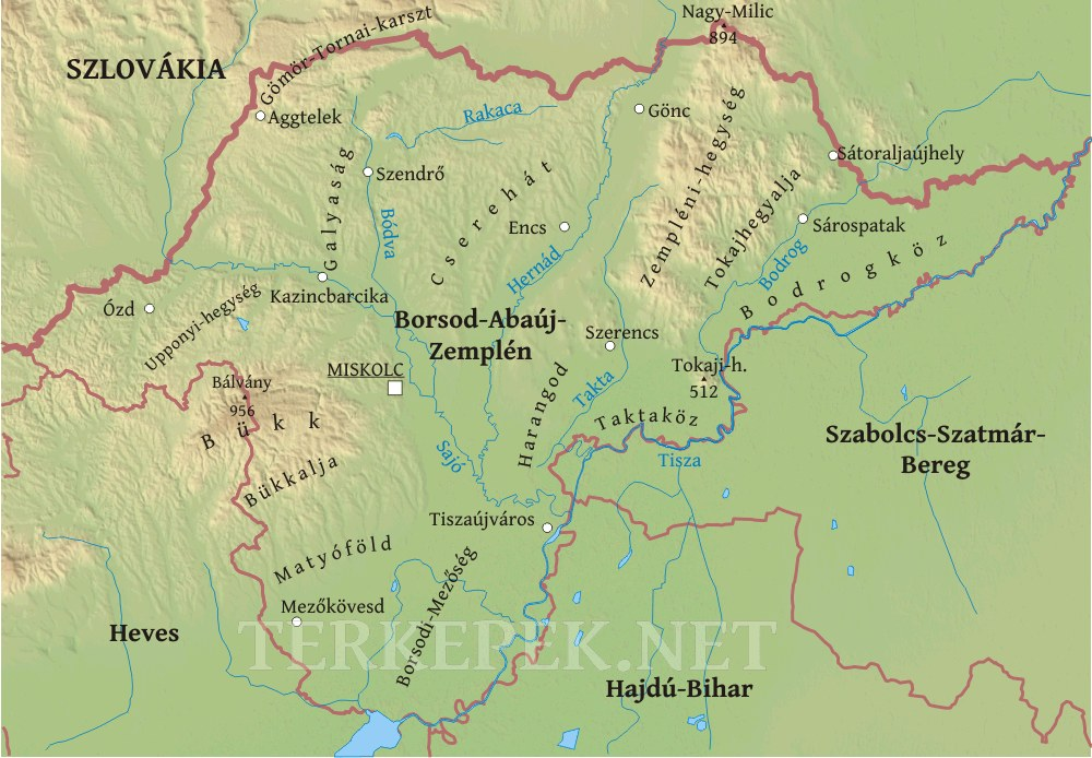 szerencs térkép Borsod Abaúj Zemplén megye domborzati térképe szerencs térkép