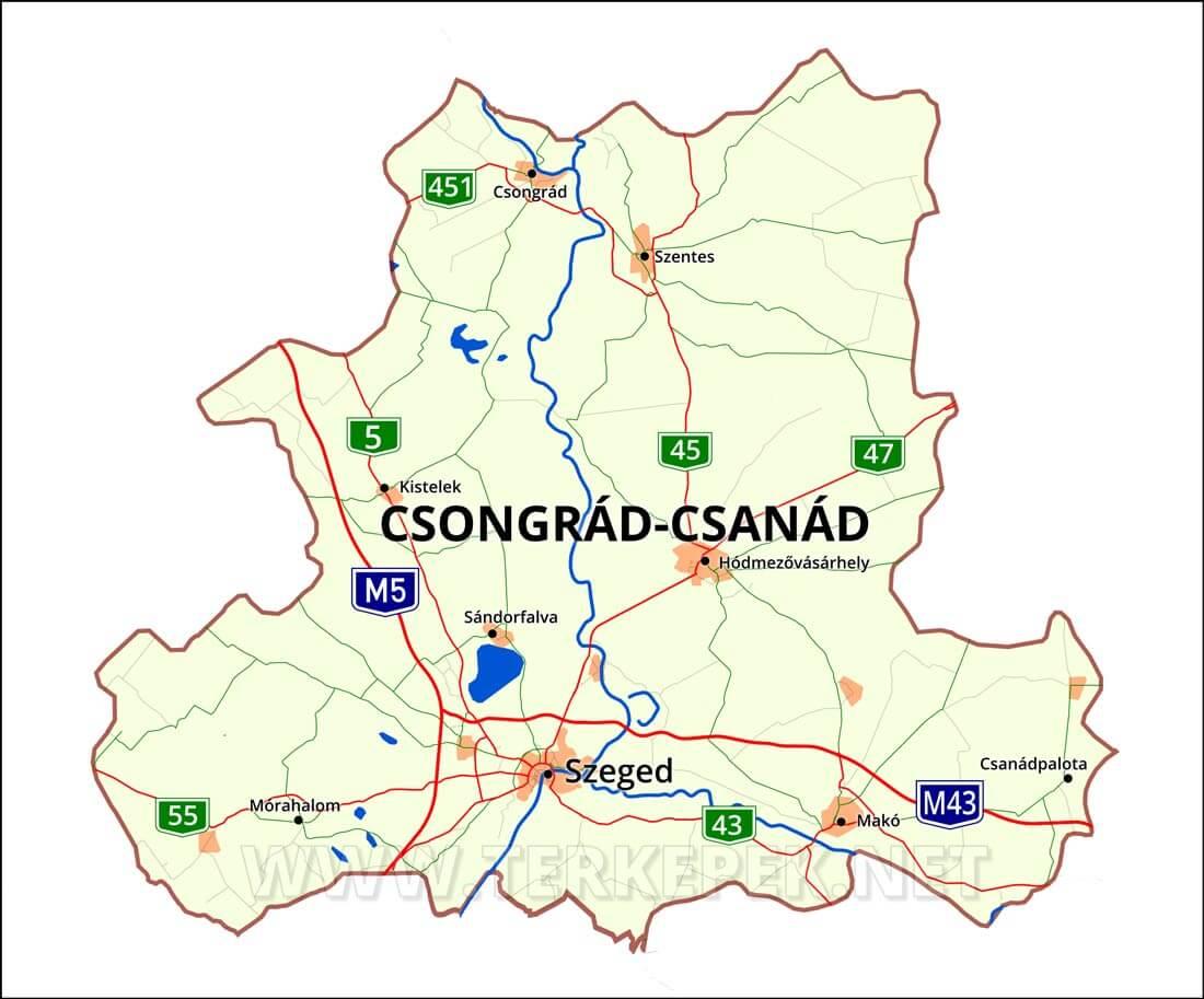 magyarország térkép csongrád Csongrád Csanád megye magyarország térkép csongrád
