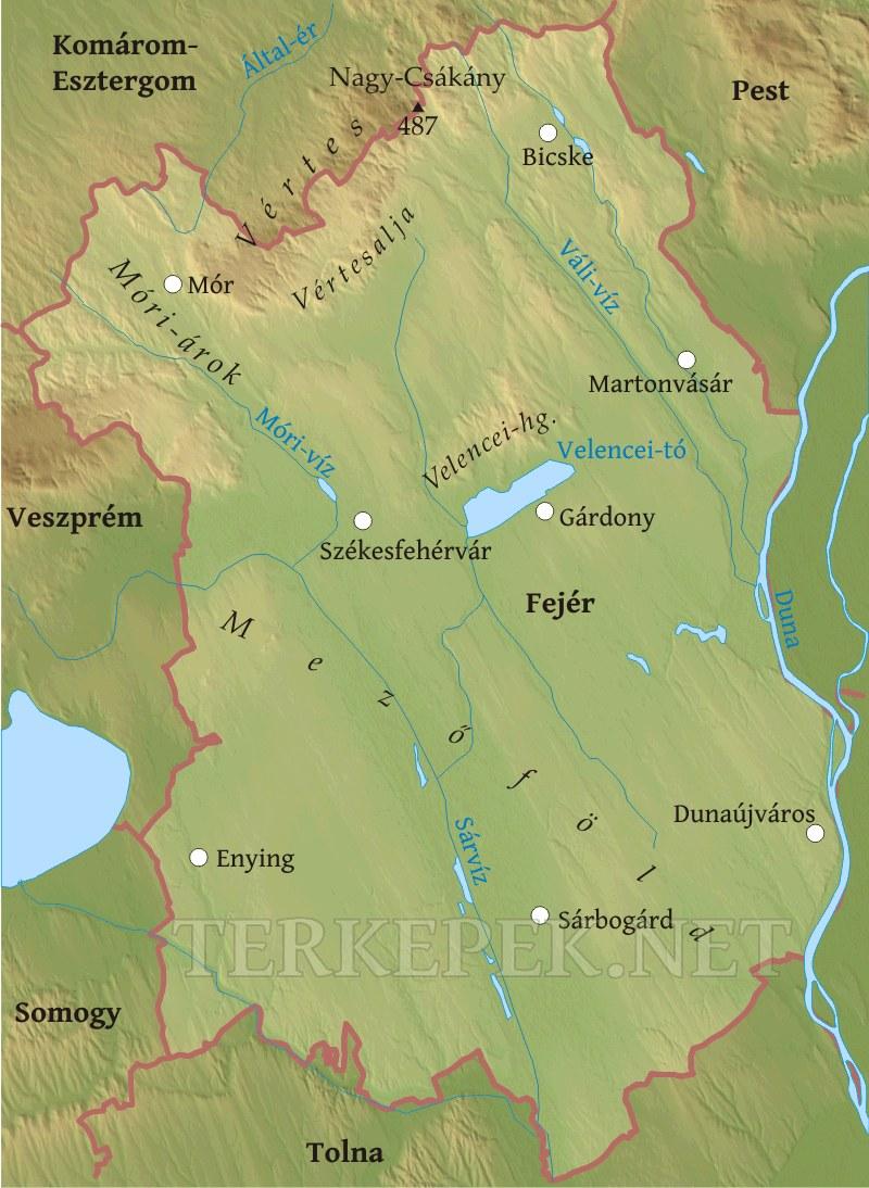 magyarország térkép fejér megye Fejér megye domborzati térképe magyarország térkép fejér megye