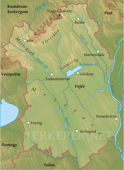 Fejér megye domborzati térképe