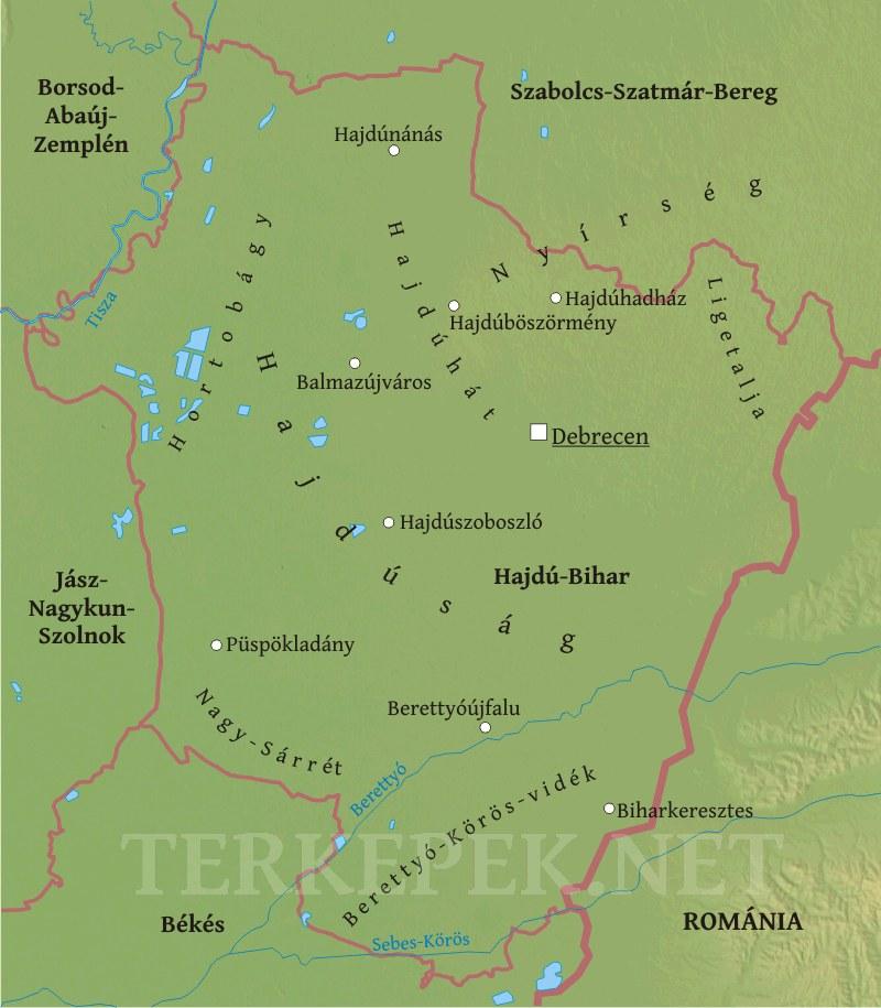 hajdú bihar megye térkép Hajdú Bihar megye domborzati térképe hajdú bihar megye térkép