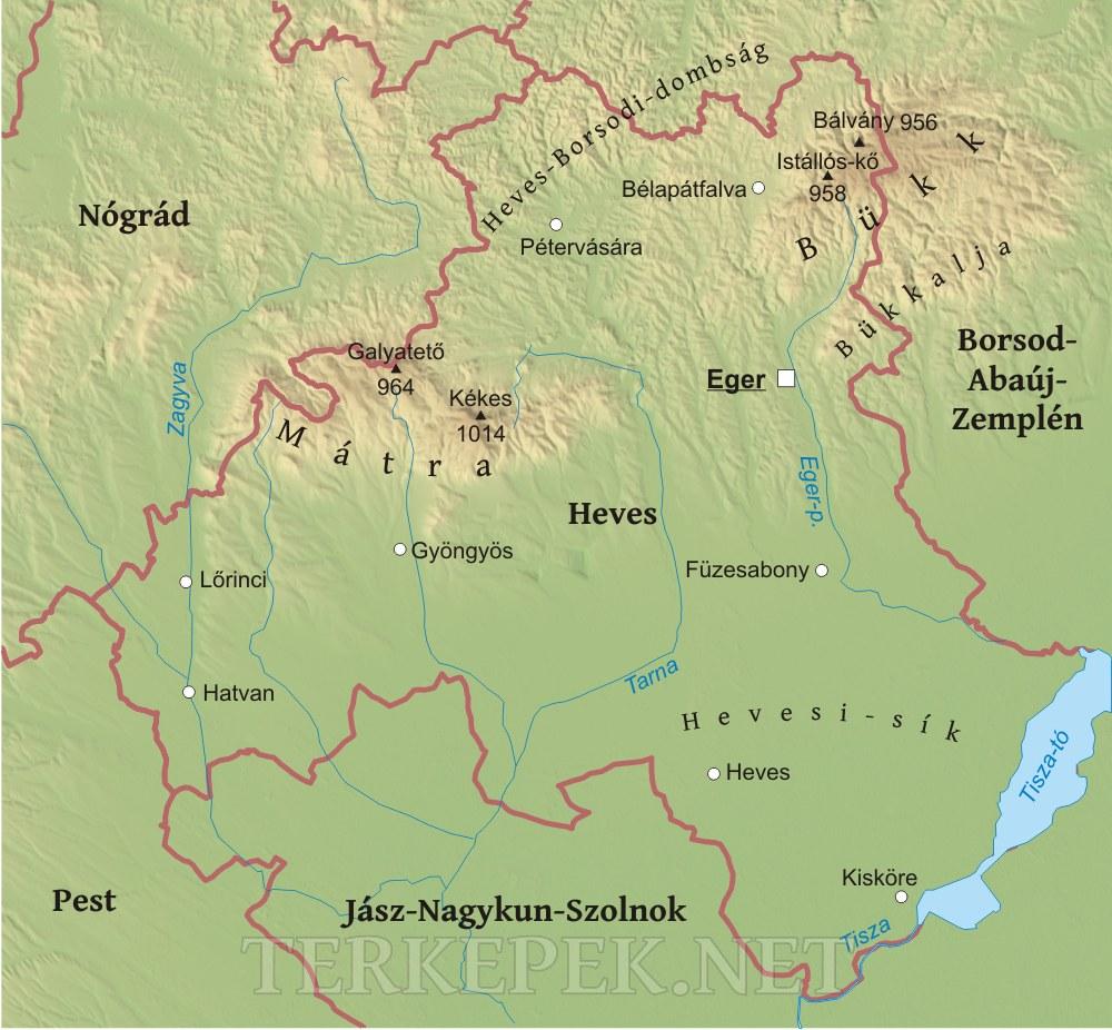 magyarország térkép eger Heves megye domborzati térképe magyarország térkép eger