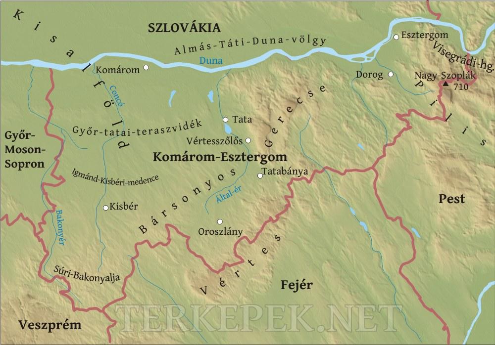 magyarország térkép esztergom Komárom Eszteregom megye domborzati térképe magyarország térkép esztergom
