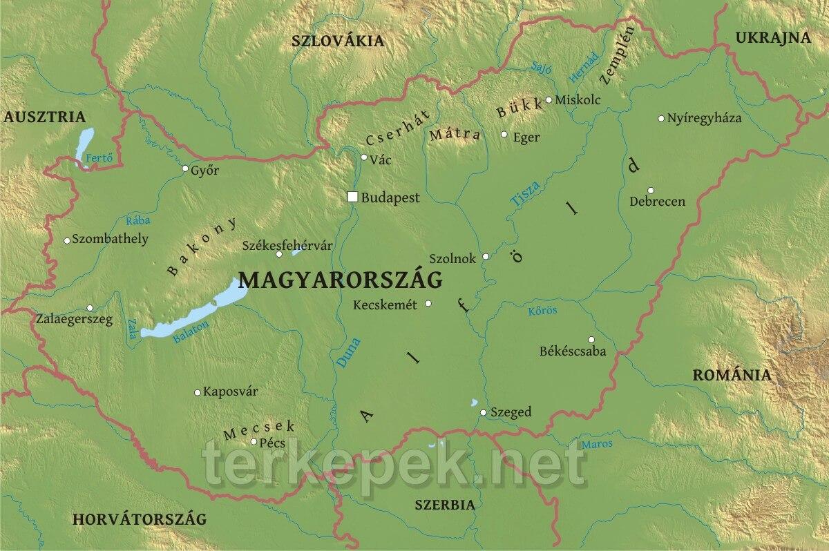 magyarország hegyei térkép Magyarország domborzati térképe magyarország hegyei térkép