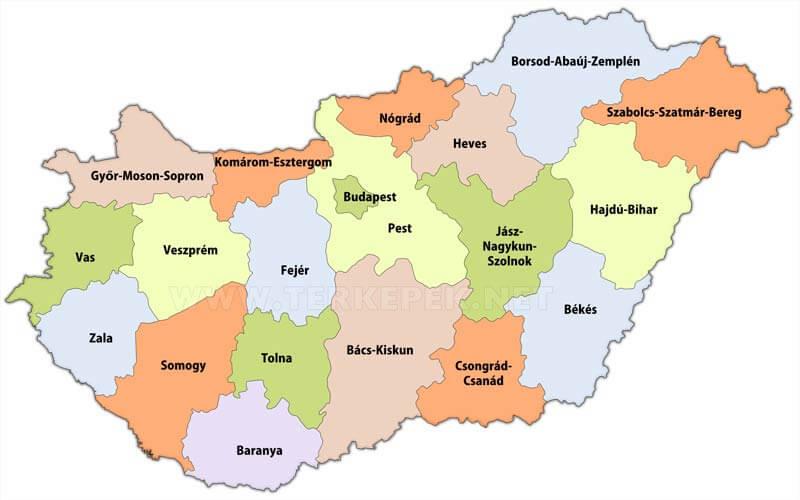 magyarország megyéi térkép Magyarország megyéi magyarország megyéi térkép