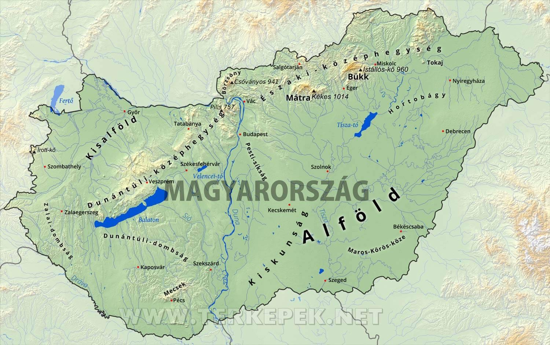 balaton térkép városokkal Magyarország domborzati térképe balaton térkép városokkal