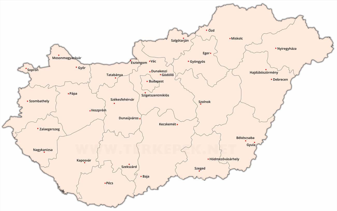 magyarország térkép megyékkel városokkal Magyarország városai magyarország térkép megyékkel városokkal