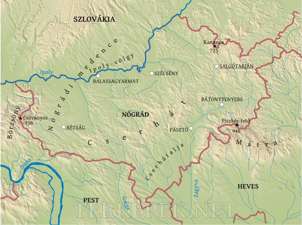 magyarország térkép balassagyarmat Nógrád megye domborzati térképe magyarország térkép balassagyarmat