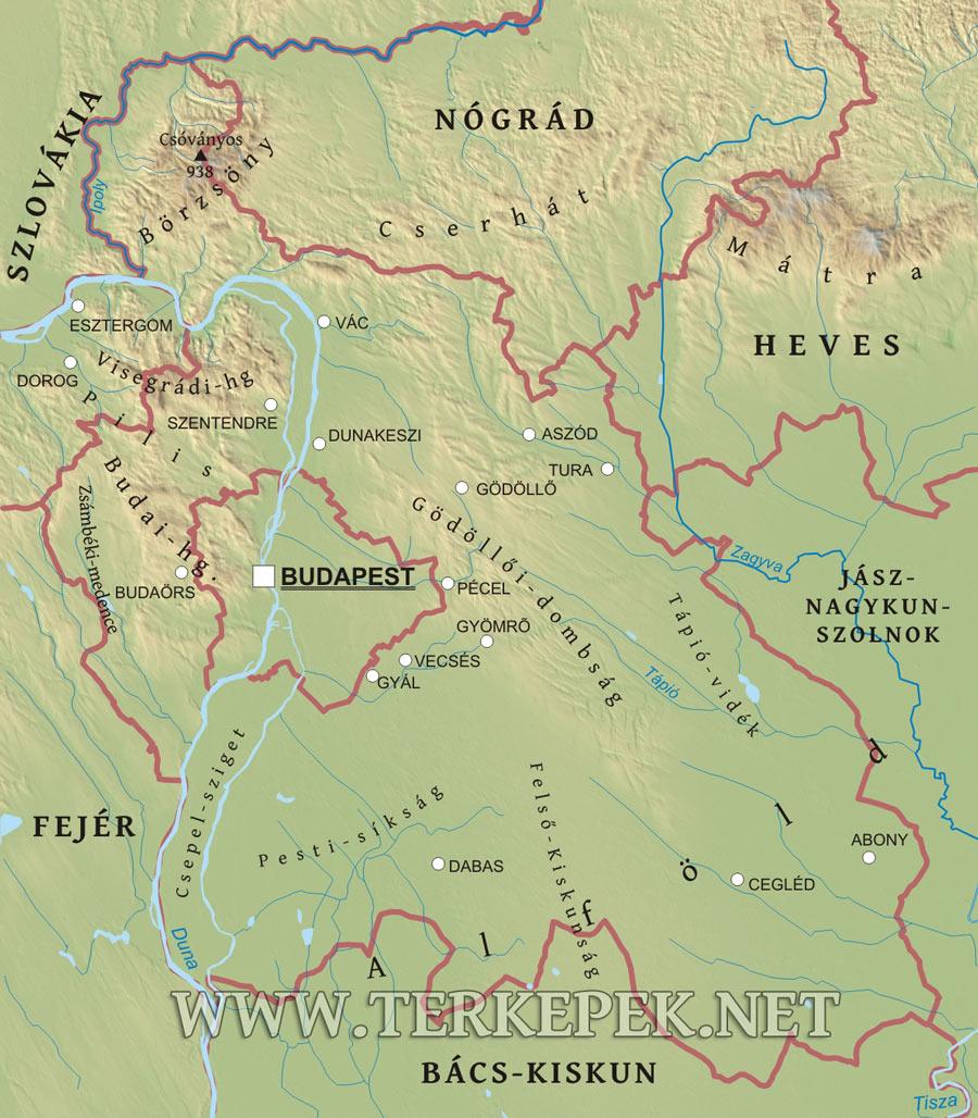 budapest cegléd térkép Pest megye domborzati térképe budapest cegléd térkép