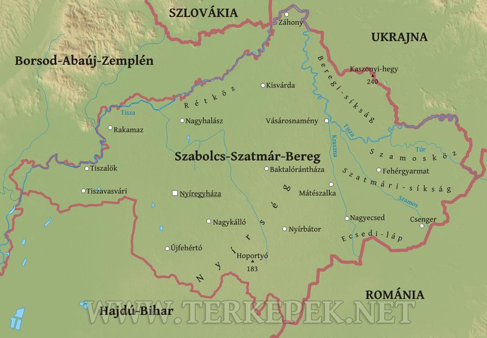 magyarország térkép nyírbátor Szabolcs Szatmár Bereg megye domborzati térképe magyarország térkép nyírbátor