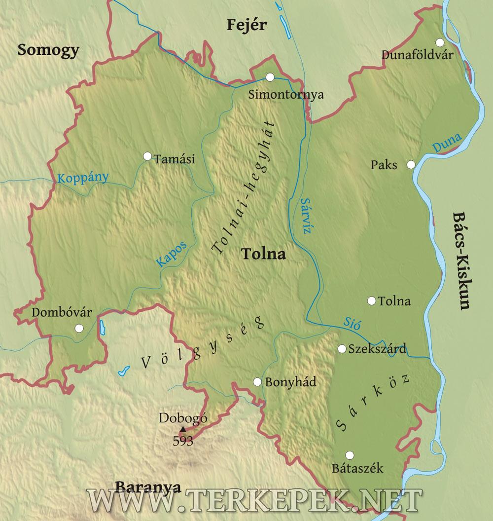 simontornya térkép Tolna megye domborzati térképe simontornya térkép